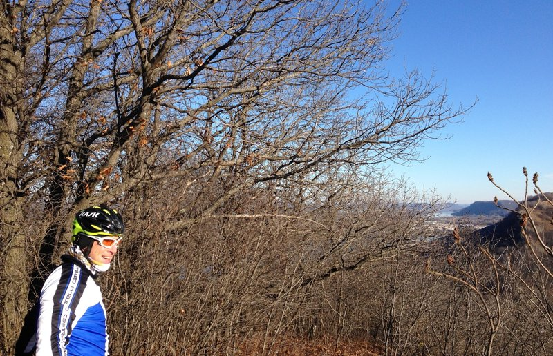 On top of the bluff, looking east over Winona.  Mississippi River is in the background.