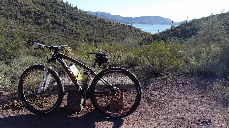 There are a few places to stop where you can overlook the lake along the Pipeline Trail.