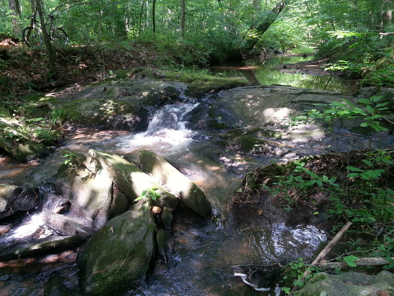 Peaceful waterfall near the intersection of two creeks on the Blue Loop. This makes an ideal picnic spot!