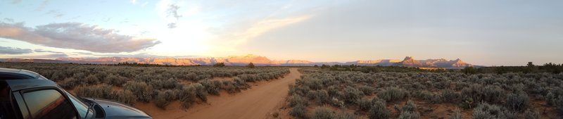 Panoramic view from the South Rim Trail at Sunset