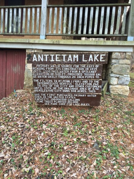 Historic Marker at the Nature Center about Antietam Lake
