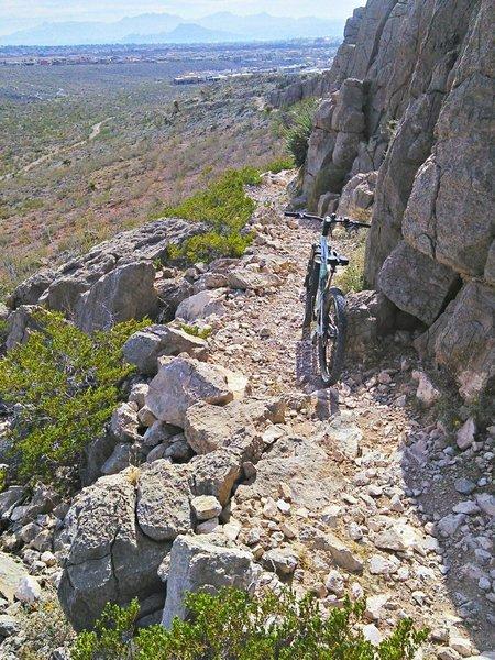 Looking downhill towards El Paso.