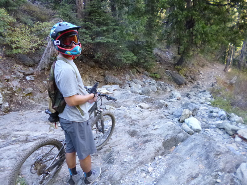 """The """"Waterfall""""- checking the line and non-existent phone connection on the Butcher Trail."""