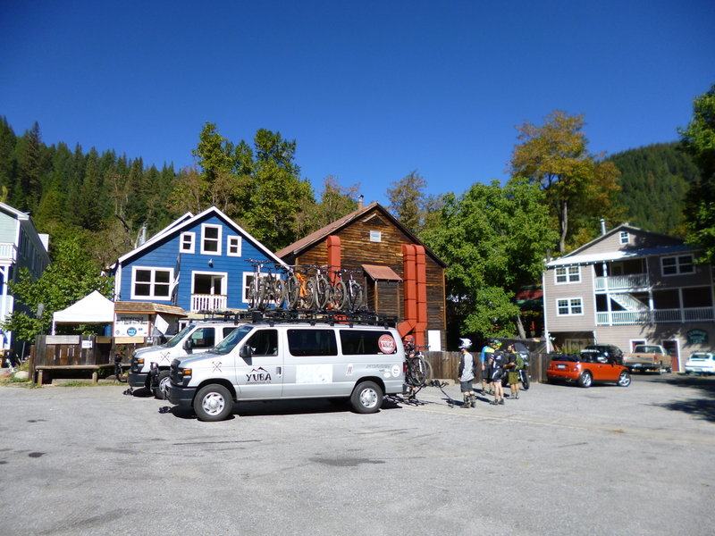 The fun North Yuba Loop starts here! If you want to shuttle, the cost is just $20 per person, bikes ride free.