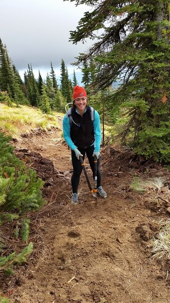 Lisa buffs out the new trail.
