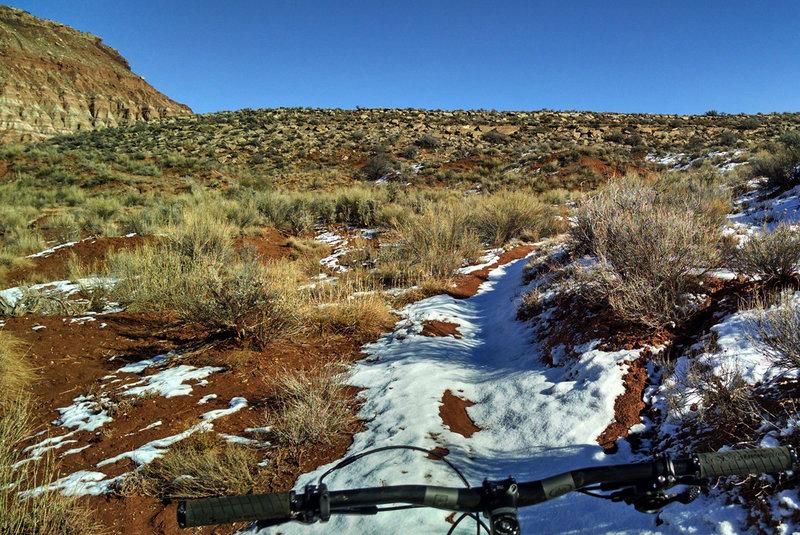 Snowy singletrack on Gould's loop.