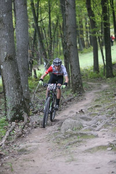 """Racing up """"Roots Rock""""at Nordic Mountain."""
