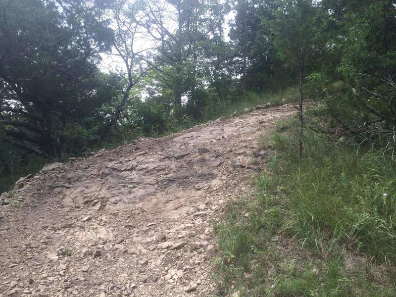 A challenging switchback corner on the West Loop.  Stay as wide as possible and power your way up.  *Warning* these rocks are VERY slippery when they are wet.