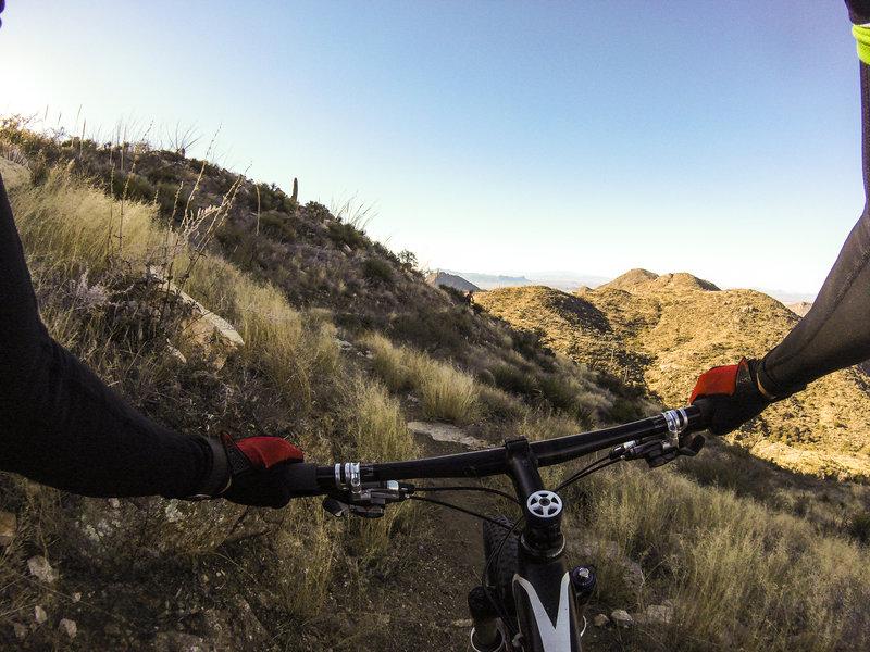 Starting the Ridgeline Trail descent.