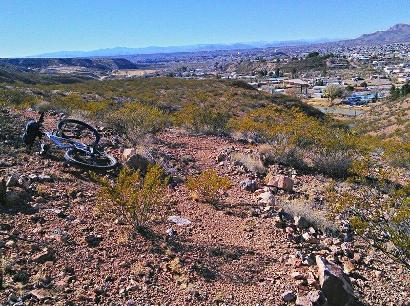 Tight switchback with Truth or Consequences in the background