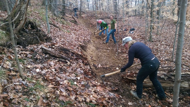 Trail Builders building singletrack trail.