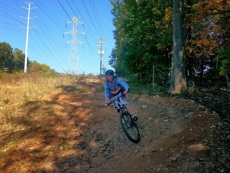 My sister using the switchbacks at Wakefield Park on her first mountain bike ride ever.
