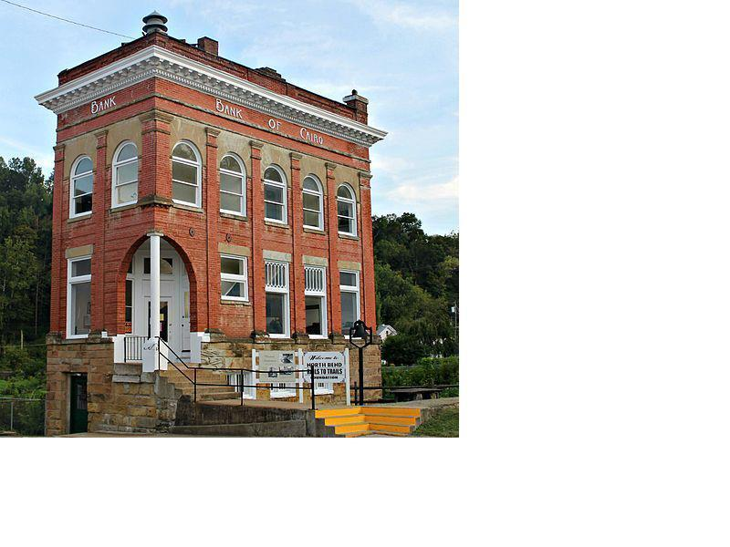 The Historic Cairo Bank is visible along the North Bend Rail Trail in Cairo, WV.