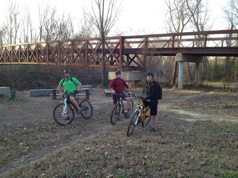 The bridge that accesses the trails from the Humphreys Parking Lot.