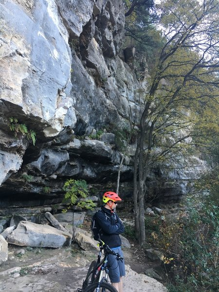 Near Beehive Wall on the Barton Creek Greenbelt. Oftentimes you'll ride by people climbing here.