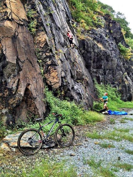 Rock climbers along the way.