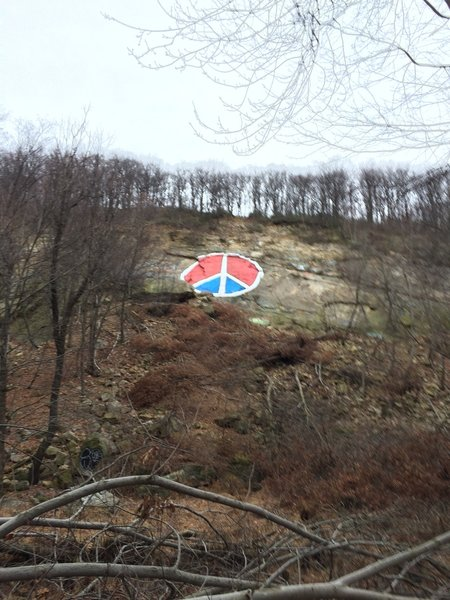 """The """"Peace Sign"""" is painted on the exposed rock face that points toward downtown Reading, PA."""