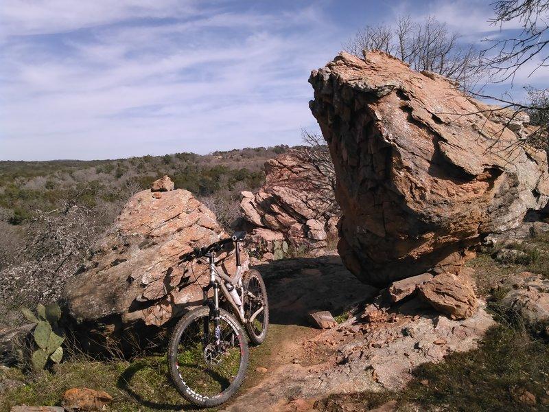 The RPR Loop flowing between 2 of many boulders