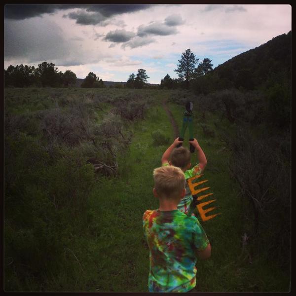 Mini trail workers on Lower Spring Creek's sweet singletrack.