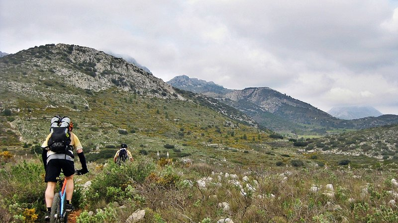 """Going to """"Plà del Xorquet"""" with great views to North Face of Xortà Mountain."""