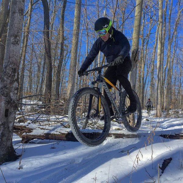 Getting snowbound on Grinder trail at one of Ontario's premier winter riding destinations.