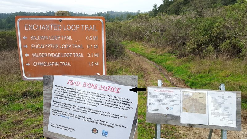 Enchanted Loop junction with close-up of trail work sign.