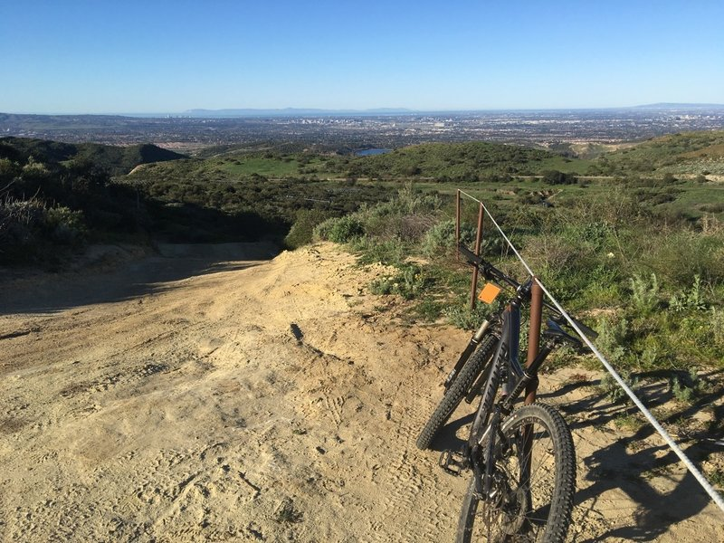Gaining elevation on East Loma, looking back towards Newport, Catalina Island and Rancho Palos Verdes Peninsula.