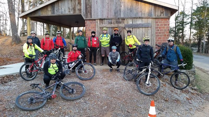 Getting ready for a night ride to ring in the new year!  Local community leaders encourage use of the Saunders Springs trail system, and authorized this (and more) organized night ride(s).