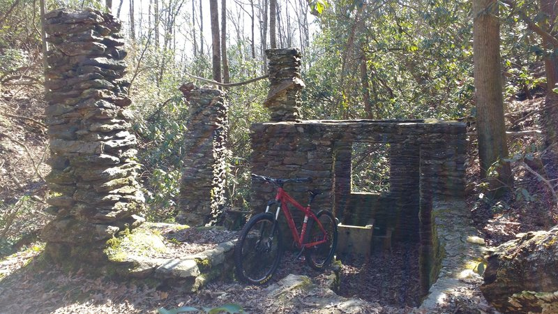 Historic remnants of old water-wheel building.