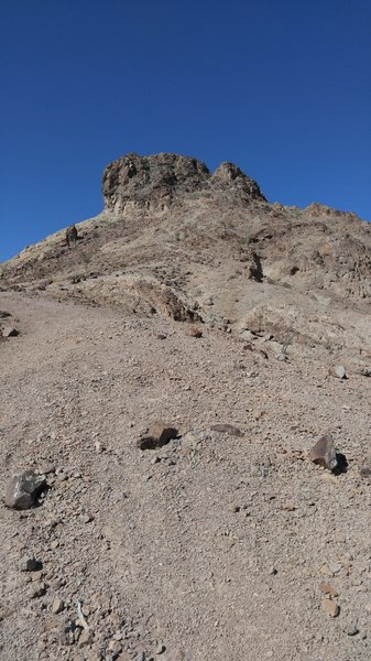 Looking up Sugarloaf. There is a trail up to the base of the cliff but it is challenging, even on foot.