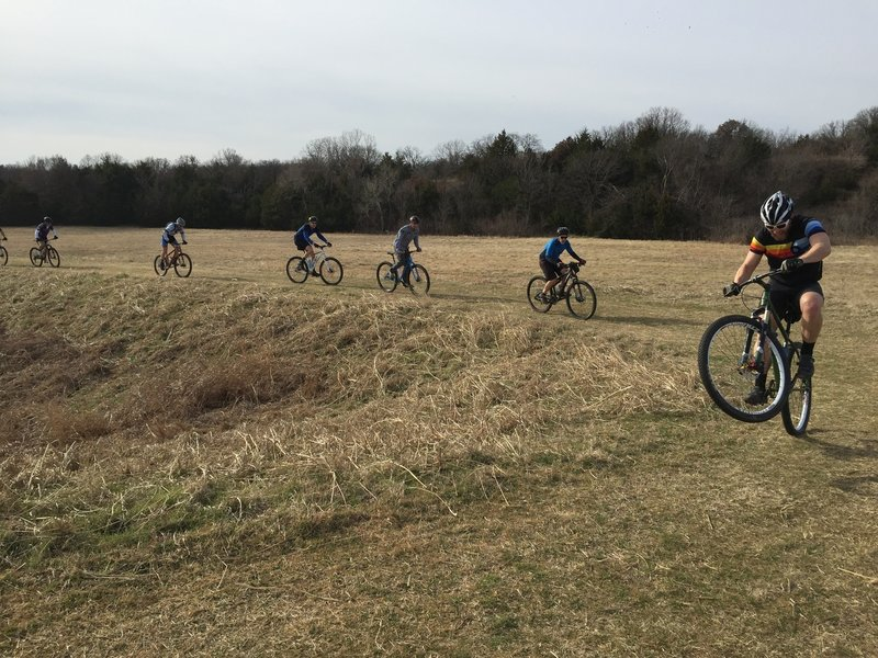 Tyler leading the pack at Chili-bike on the Green Trail.