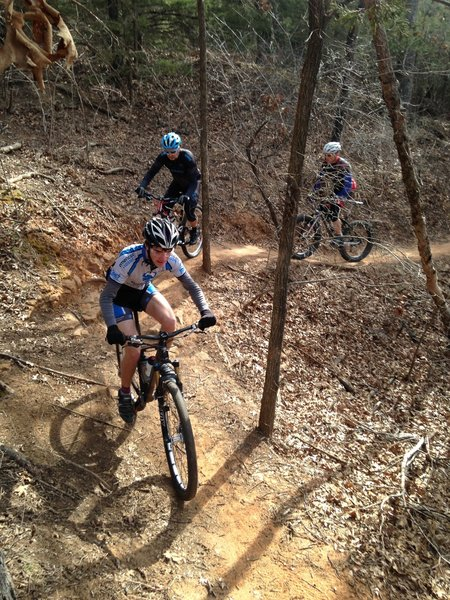 Kramer making the climb on the Red Trail.