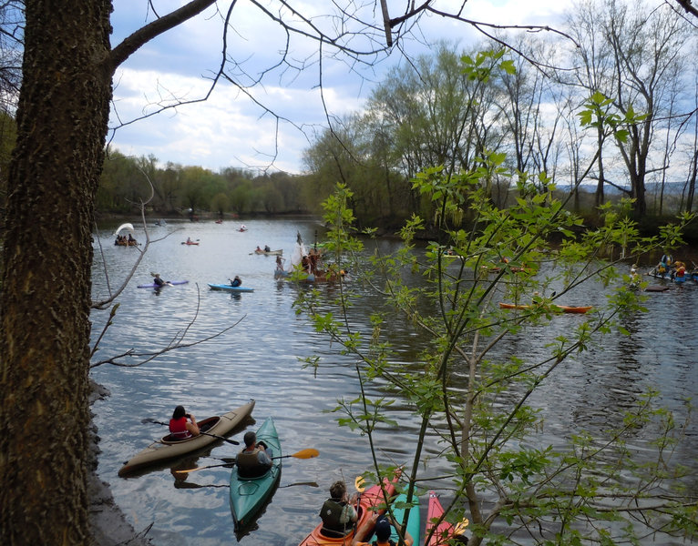 """At mile 8 the trail is adjacent to Soujourner Truth Park with its kayak launch. Every May since 1955 New Paltz a festive """"regatta"""" with home-made boats in a race beside the trail."""