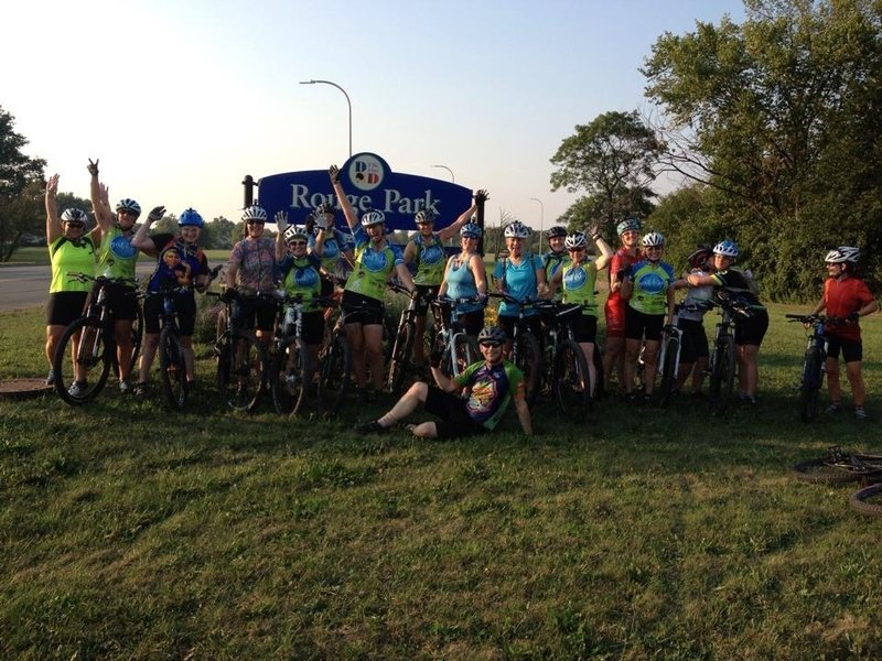 GirlBike group ride at Detroit's Rouge Park.