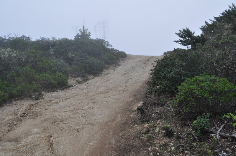 Montara Mountain summit communications towers shrouded in fog.