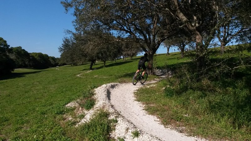 """Rider navigating a section of Dyer Hill called """"The Playground."""""""