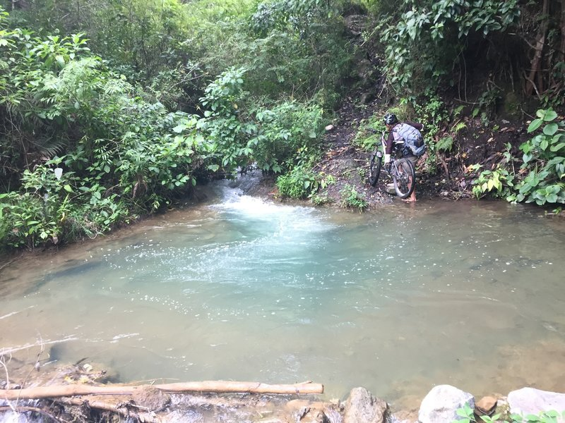 The ride ends at a stream. Enjoy the cool water. You'll probably have to hike about 1/2 mile uphill to meet your driver.