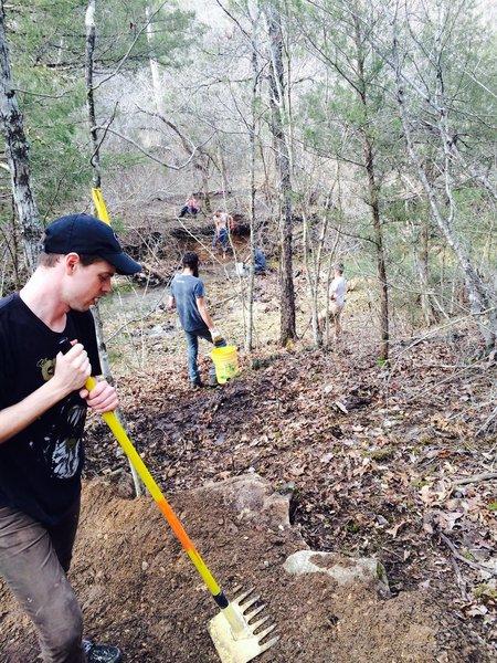 Volunteers working on 57 South Oak during ROWDY.