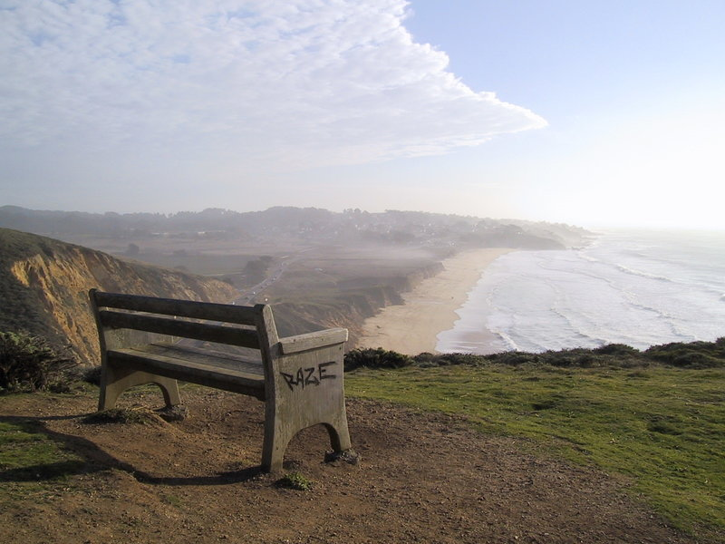 Bench overlooking Martini Beach.