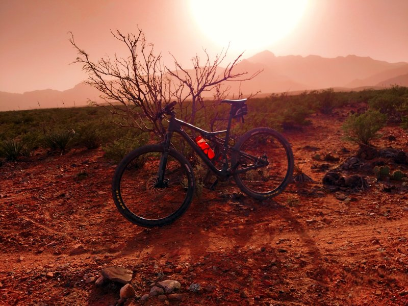 Riding in a dust storm, everything has a tinge of red.
