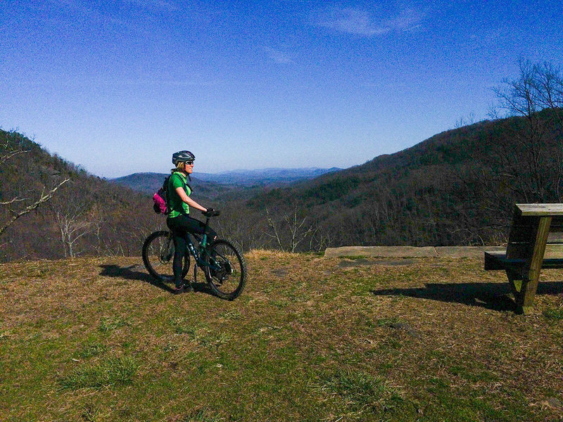 Some great views along the paved Point Lookout Trail climb.