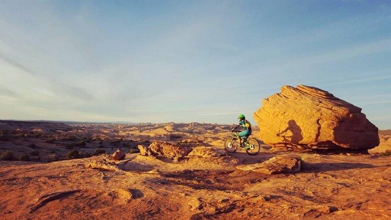 Sunset ride at Slickrock Practice Loop.