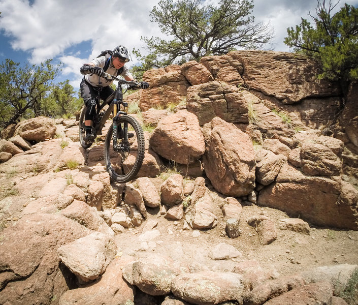 Mike showing us how it is done on the nasty section.