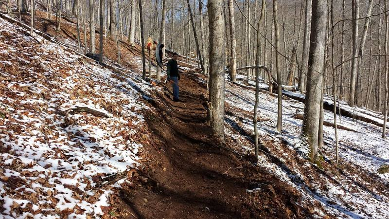 At the end of a day of bench cutting on Warrior Ridge in early 2015. The River Valley Mountain Bike Association builds great singletrack!