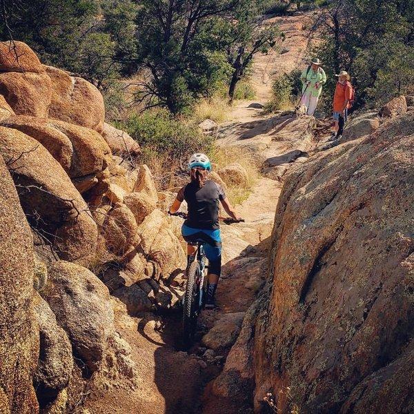 Hikers watching me navigate the rocks! Pressured!