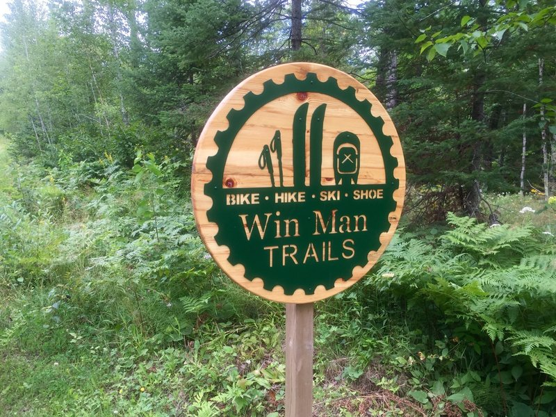 Entrance sign to trails.
