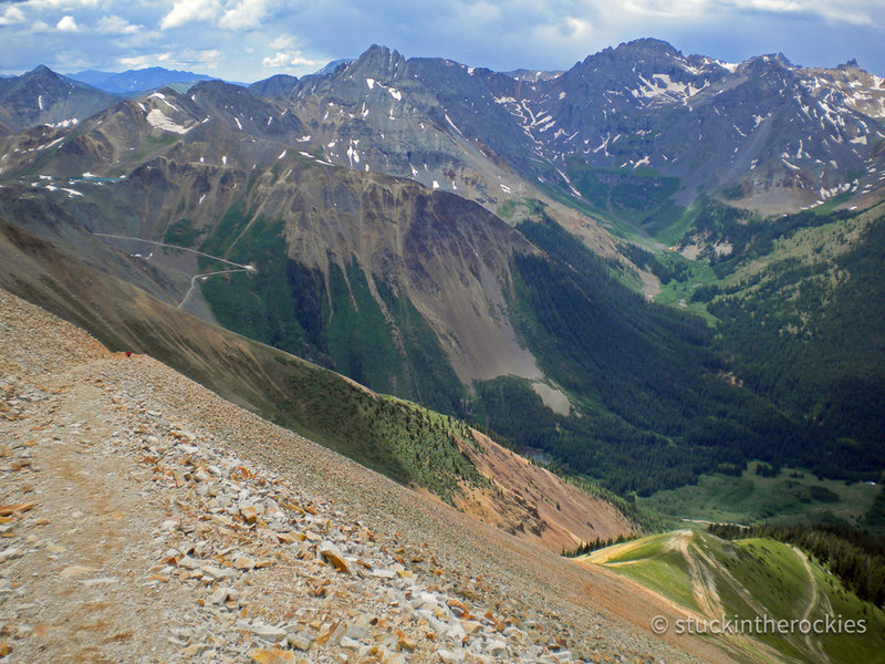 The steep switchbacks from Oscar's Pass down to Chapman.