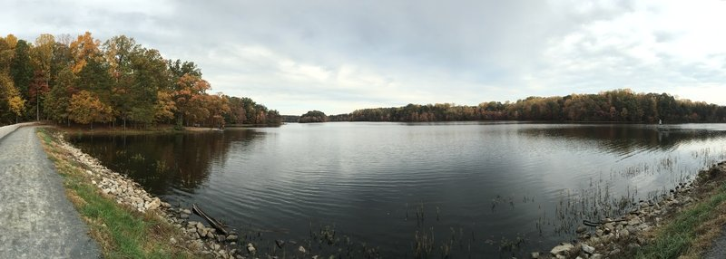 This dam picture is a panorama looking northward. This is a fast, hard-packed route.
