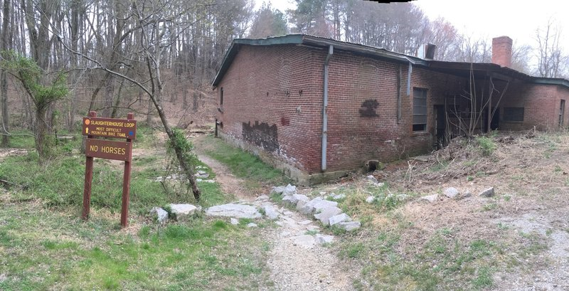 Trailhead for Slaughterhouse Loop. A creepy setting for this challenging trail.