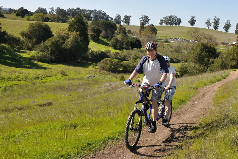 Riding a tandem bicycle in Arastradero Preserve.